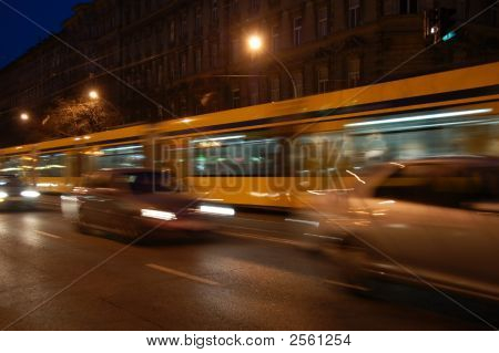 Tram And Cars Moving