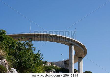 Motorway flyover near Krk island in Croatia