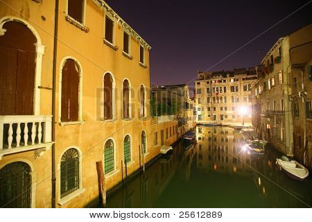 a quiet canal in venice at night
