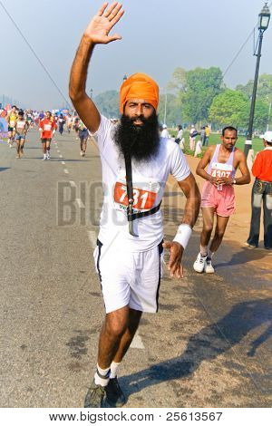 DELHI - OCTOBER 28: Young bearded Sikh man with turban competing in marathon on October 28th, 2007 in Delhi, India. The 2009 event attracted around 29,000 runners.