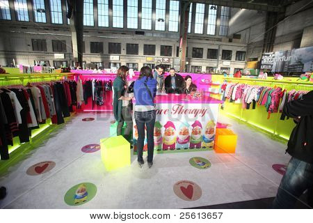 BERLIN - JANUARY 19:  Love Therapy stand at Bread & Butter fair on January 19, 2011 in Berlin, Germany. Tens of thousands of visitors attended the tradeshow this year.