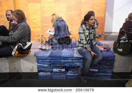 BERLIN - JANUARY 21: Wrangler seating area at Bread & Butter fair on January 21, 2011 in Berlin, Germany. Tens of thousands of visitors attended the tradeshow this year.