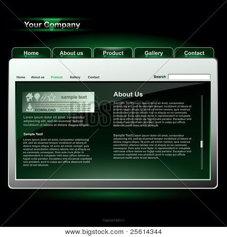 Website template, vector
