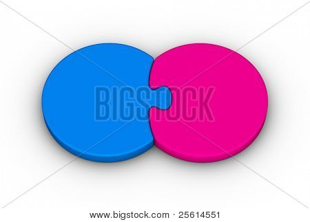 two jigsaw puzzles on white background
