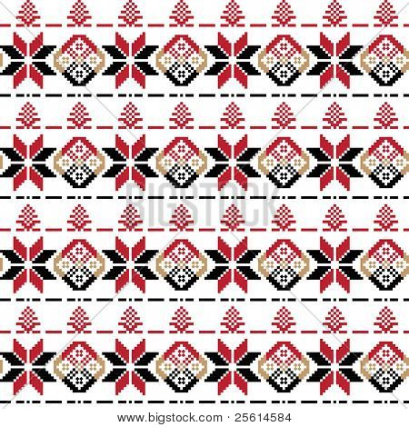 Ethnic black and red ornament seamless pattern