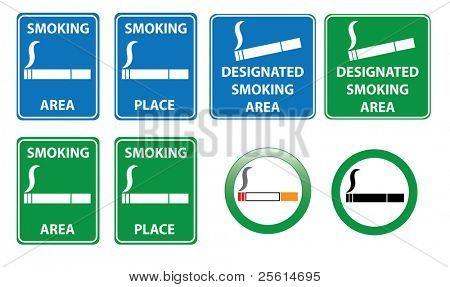 Conjunto de sinais de área de fumo