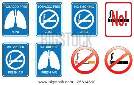 No smoking zone and tobacco free area sign concept