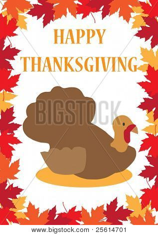 Thanksgiving greeting card with a turkey on a maple leafs background