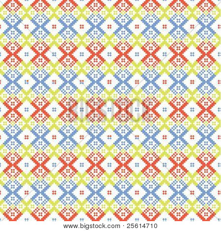 Ethnic blue and red ornament seamless pattern - raster version (vector available)