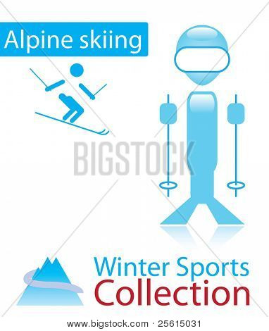 Alpine skiing from winter sports collection. sign and person icon.