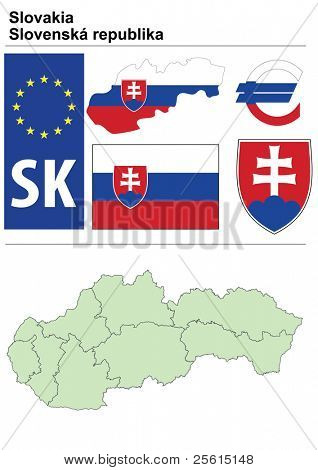 Slovakia collection including flag, plate, map (administrative division), symbol, currency unit & coat of arms