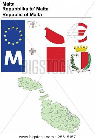Malta collection including flag, plate, map (administrative division), symbol, currency unit & coat of arms