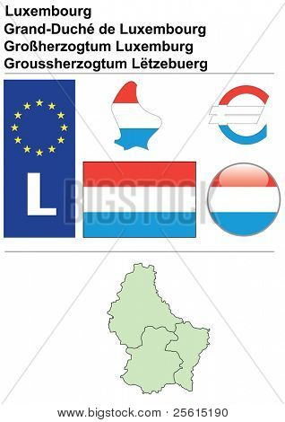 Luxembourg collection including flag, plate, map (administrative division), symbol, currency unit & glossy button