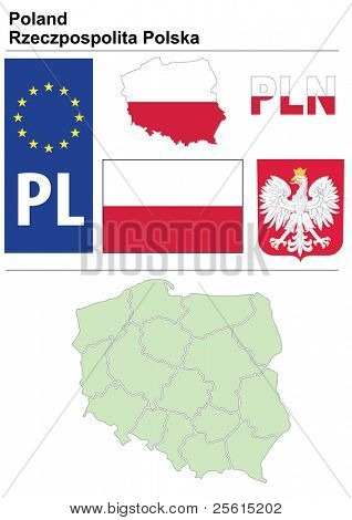 Poland collection including flag, plate, map (administrative division), symbol, currency unit & coat of arms