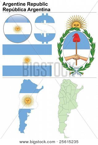 Argentina collection including flag, map (administrative division), symbol, currency unit & glossy button