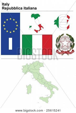 Raster version (vector available in my portfolio) of Italy collection including flag, plate, map (administrative division), symbol, currency unit & coat of arms