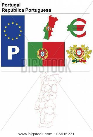 Raster version (vector available in my portfolio) of Portugal collection including flag, plate, map (administrative division), symbol, currency unit & coat of arms