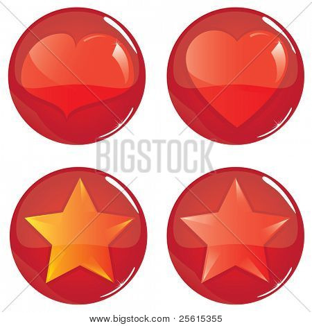 Glossy balls with heart and star inside
