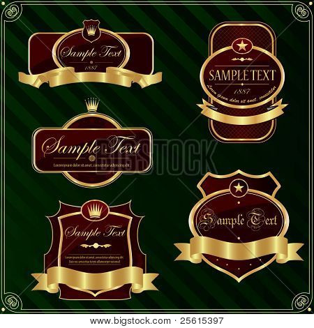 Detailed ornate vintage label set.