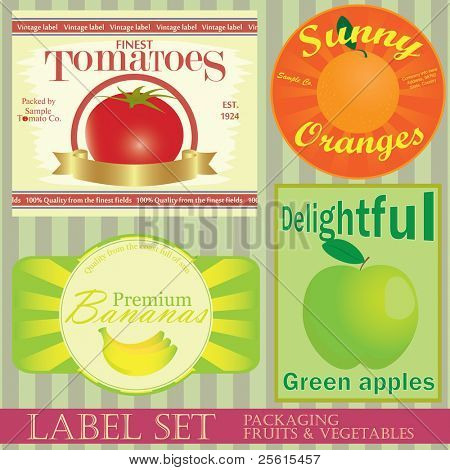 Label set: fruits and vegetables