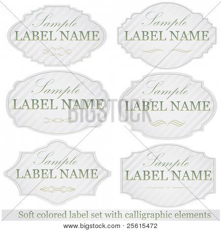 Soft colored label set with calligraphic elements