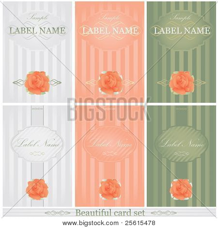 Beautiful cards in 3 color set. With calligraphic elements and rose