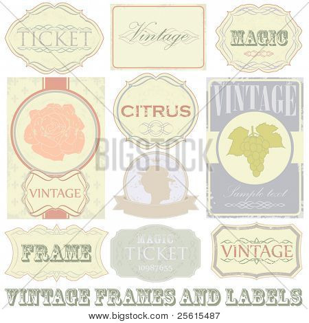 Detailed vintage label set. All elements (including grunge) easy editable and removable.