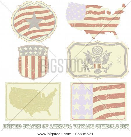 Raster United States of America vintage symbol set. (vector available in portfolio)