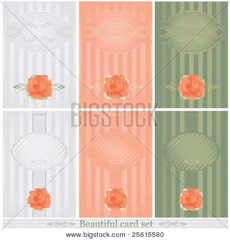 Raster beautiful cards in 3 color set. With calligraphic elements and rose (vector available in portfolio)