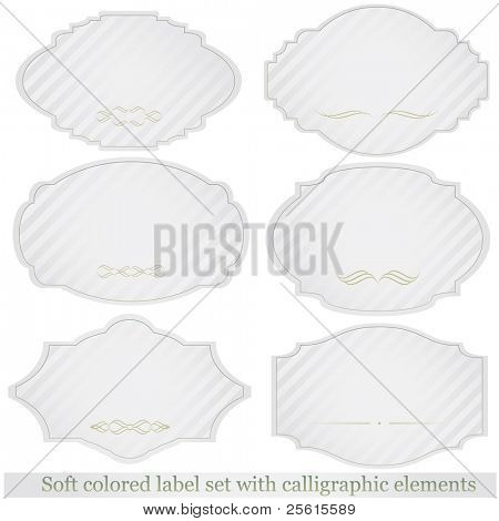 Raster soft colored label set with calligraphic elements (vector available in portfolio)