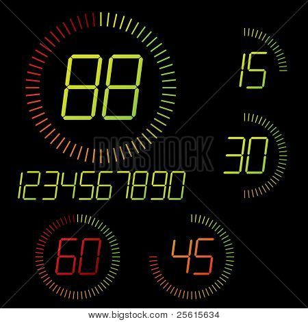 Digital timer illustration. Easy editable 15 min interval timer icons and digits set
