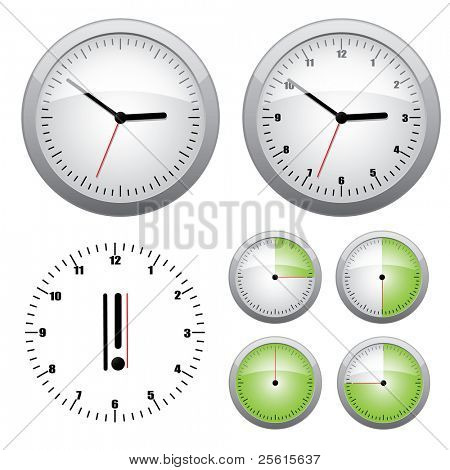 Clock illustration. Easy editable 15 min interval timer icons