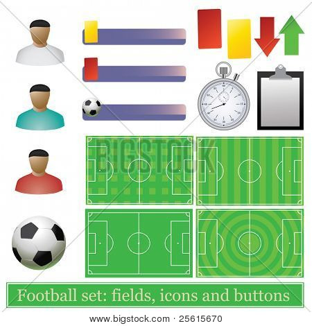 Raster version of Football set: fields, icons and buttons (vector available in portfolio)
