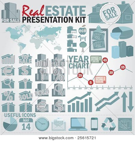 Real estate presentation kit. Graph and charts, easy assembling elements and world map with separate countries.