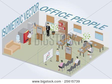 Oficina isométrica con personas. Pack completo de los muebles incluyendo los accesorios. Todos los objetos son editables