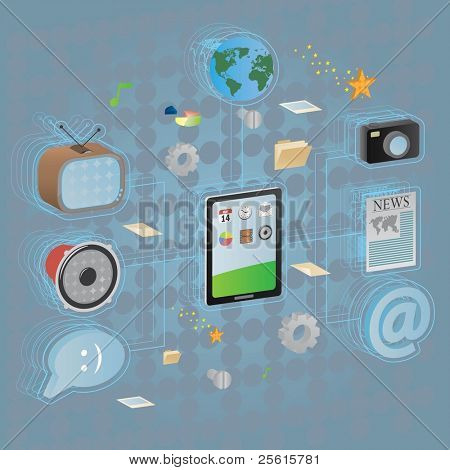 Communication infographics. different elements of communication connected with computer pad.