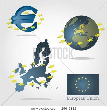 European union symbols concept. Euro sign, map of europe and globe with highlighted union. Surrounded by stars.