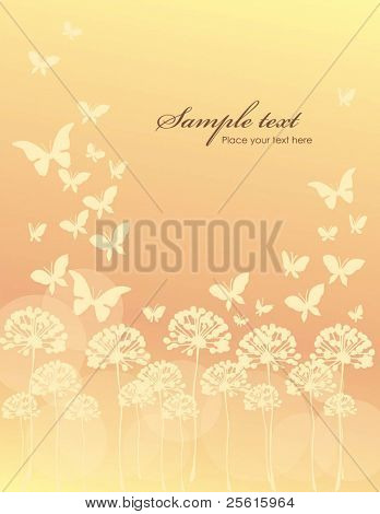 Abstract floral and butterfly background with space for text