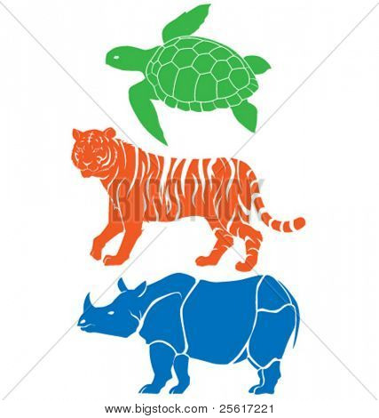 Rhino, tiger and sea turtle vector