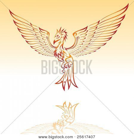 Illustration of a burning phoenix, For vector version please visit my gallery