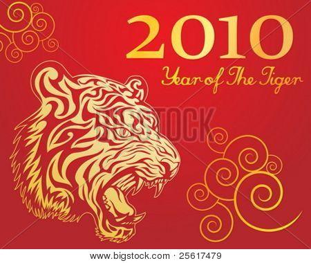 Vektor-Bild des neuen Jahres des Tigers