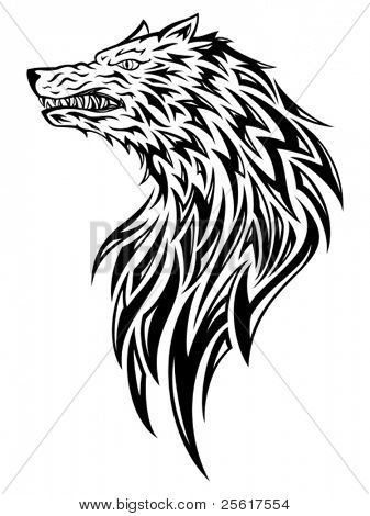 Wolf tribal/tattoo style