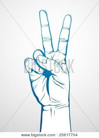 hand in victory sign