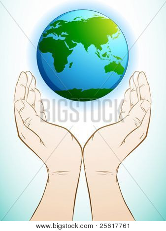 illustration of a hand holding earth