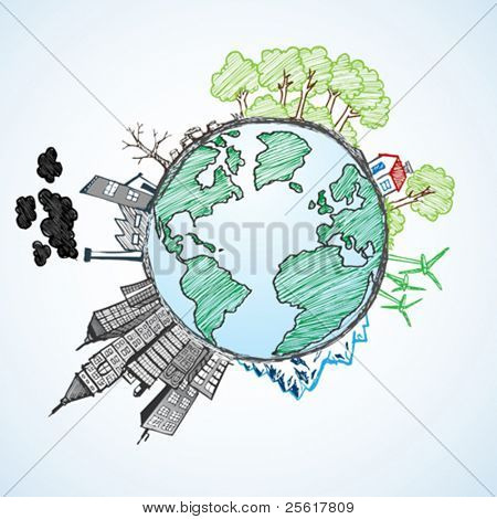 doodle image of earth and environment