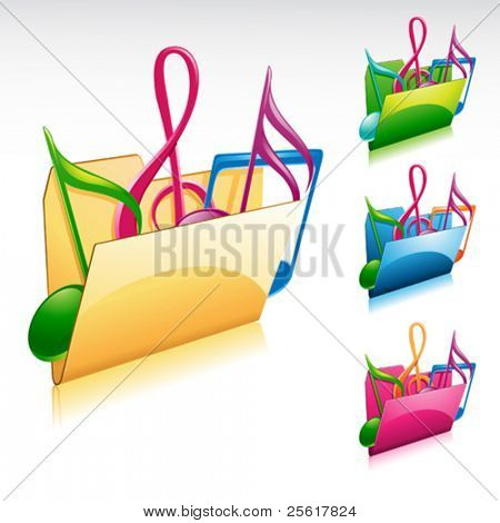 music folder icon with color variations