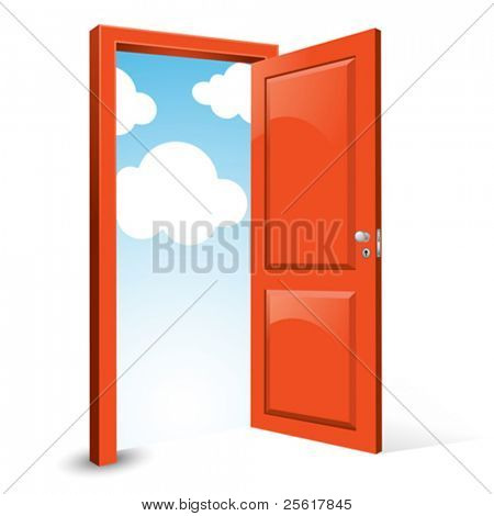 open door with sky background