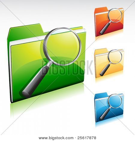 folder search icon, with color variations
