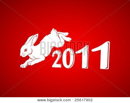 year of the rabbit illustration, with white rabbit in red background