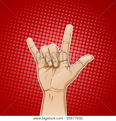 Hand in I love you / metal sign